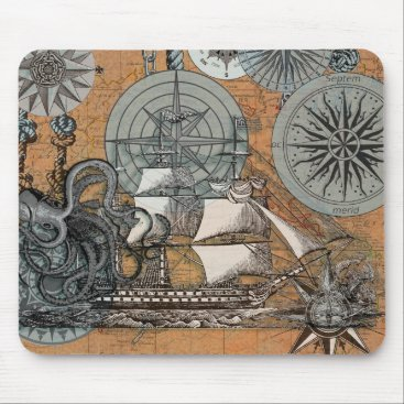 Beach Themed Compass Rose Vintage Nautical Octopus Ship Art Mouse Pad