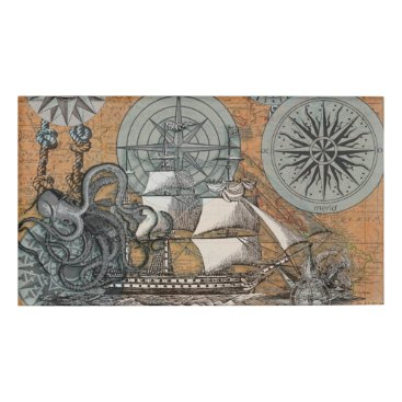 Beach Themed Compass Rose Vintage Nautical Octopus Ship Art Name Tag