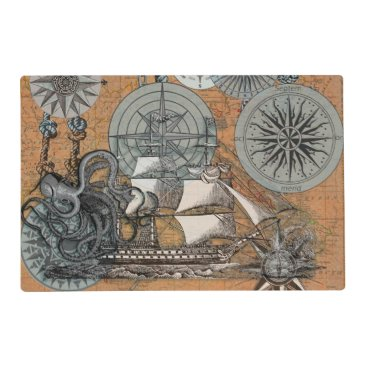 Beach Themed Compass Rose Vintage Nautical Octopus Ship Art Placemat