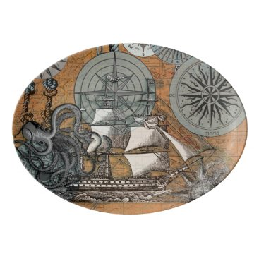 Beach Themed Compass Rose Vintage Nautical Octopus Ship Art Porcelain Serving Platter