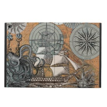 Beach Themed Compass Rose Vintage Nautical Octopus Ship Art Powis iPad Air 2 Case