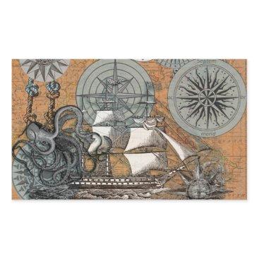 Beach Themed Compass Rose Vintage Nautical Octopus Ship Art Rectangular Sticker