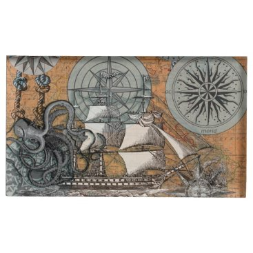 Beach Themed Compass Rose Vintage Nautical Octopus Ship Art Table Number Holder