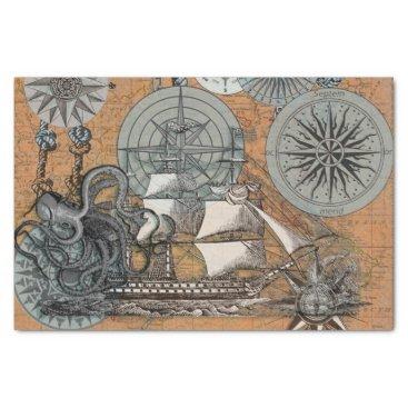 Beach Themed Compass Rose Vintage Nautical Octopus Ship Art Tissue Paper