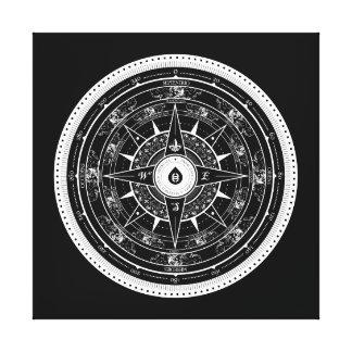 Compass Rose - Wall Canvas (Black) Canvas Print