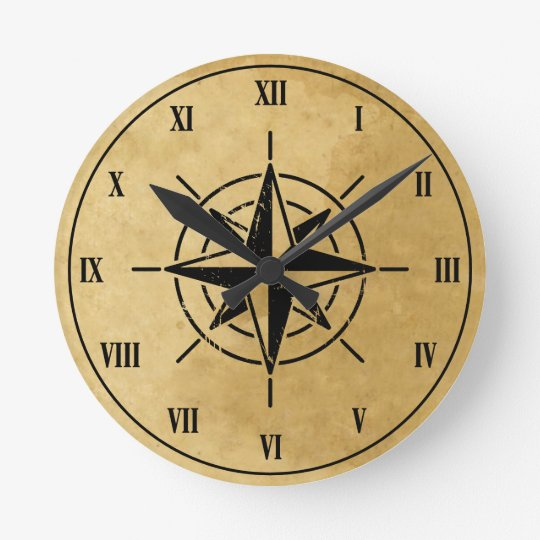 Compass Rose Wall Clock Zazzle Com