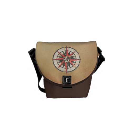 Compass Rose with Globe, Distressed Messenger Bags