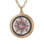 Compass Rose with Globe, Distressed Personalized Necklace