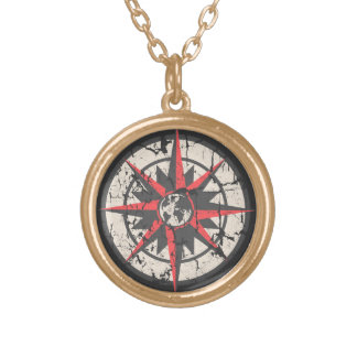 Compass Rose with Globe, Distressed Round Pendant Necklace