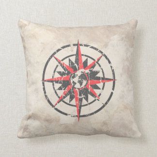 Compass Rose with Globe, Distressed Throw Pillow