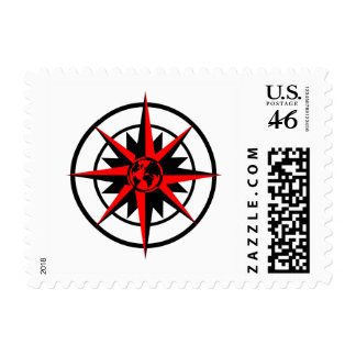 Compass Rose with Globe Stamps