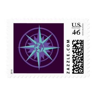 Compass Rose with Globe Postage Stamps
