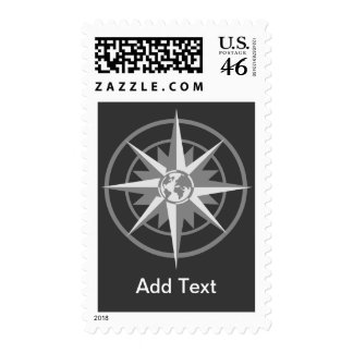 Compass Rose with Globe Postage Stamp