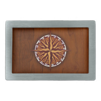 Compass Rose Wood Rectangular Belt Buckle