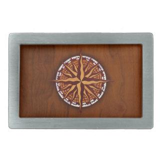 Compass Rose Wood Rectangular Belt Buckle