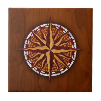 Compass Rose Wood Tile