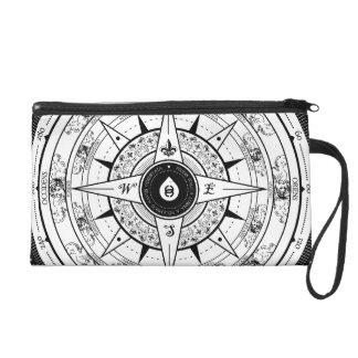 Compass Rose - Wristlet Bag (White)