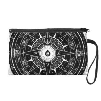 Compass Rose - Wristlet Hand Bag (Black)