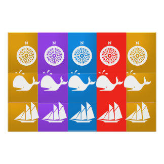 COMPASS SAILBOAT : SAIL WHALE POSTER