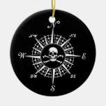 Compass Skull Ceramic Ornament