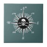 Compass Skull Small Square Tile