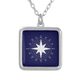 compass square pendant necklace