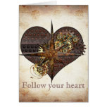 Compass Star and Heart Steampunk Valentine Cards