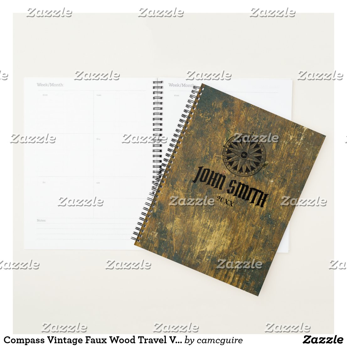 Compass Vintage Faux Wood Travel Voyage Adventure Planner