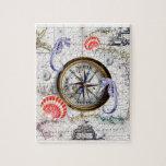 """Compass Vintage Nautical Jigsaw Puzzle<br><div class=""""desc"""">Compass Vintage Map</div>"""