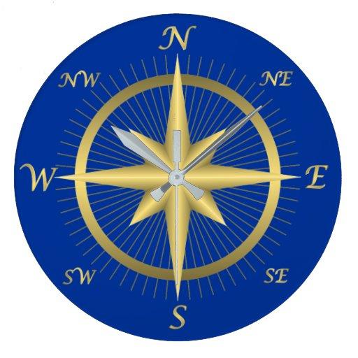 compass wall clock zazzle