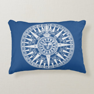 Compass Wind Rose Blue White Decorative Pillow