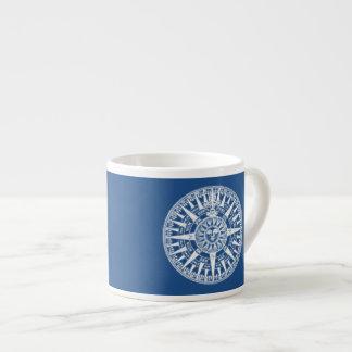 Compass Wind Rose Blue White Espresso Cup