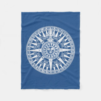 Compass Wind Rose Blue White Fleece Blanket