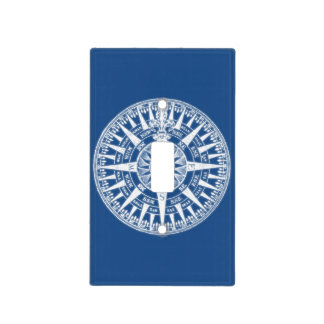 Compass Wind Rose Blue White Light Switch Cover