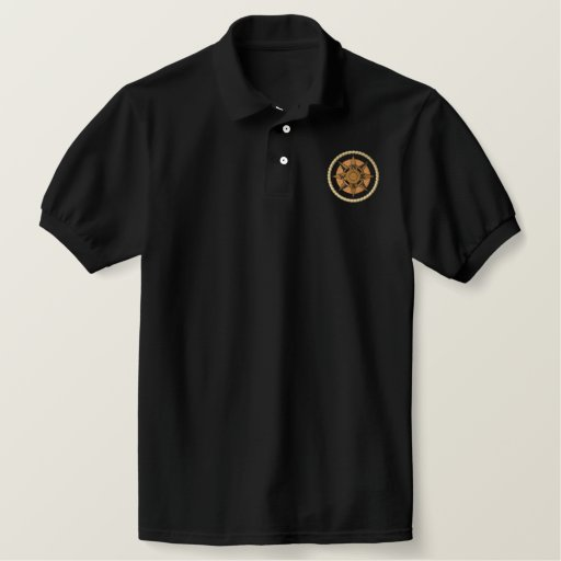 Compass with rope embroidered polo shirt
