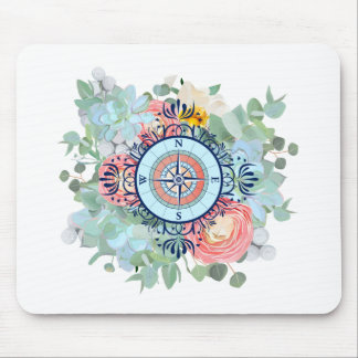 Compass with Succulents Mouse Pad