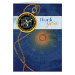 Compass + World Map Business Thank You Card