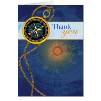 Compass + World Map Business Thank You Cards