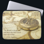 "Compass World Travel Map Laptop Sleeve<br><div class=""desc"">A photographic image in warm tones of brown and gold showing an antique compass on a vintage world map sets the scene a travel themed gift. The design is completed by the quote from St. Augustine,  &quot;The World is a book,  and those who don't travel read only a page.&quot;</div>"