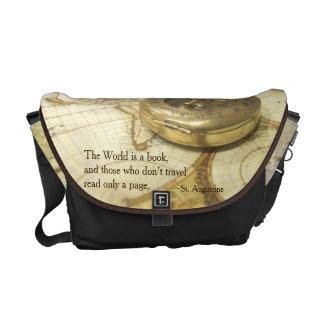 Compass World Travel Map Messenger Bag
