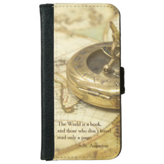 Compass World Travel Map Wallet Phone Case For iPhone 6/6s