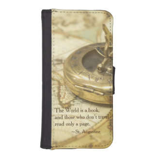 Compass World Travel Map Wallet Phone Case For iPhone SE/5/5s