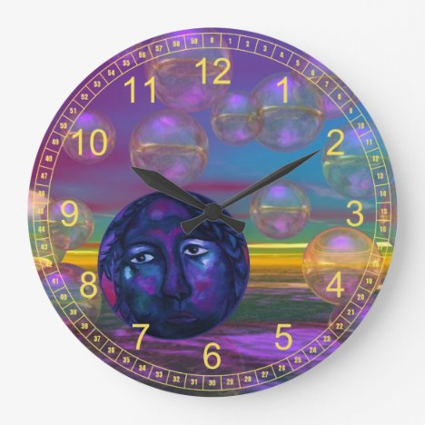 Compassion – Abstract Indigo and Gold Awareness Large Clock