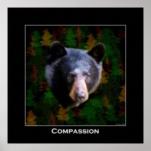 COMPASSION Black Bear Art Poster