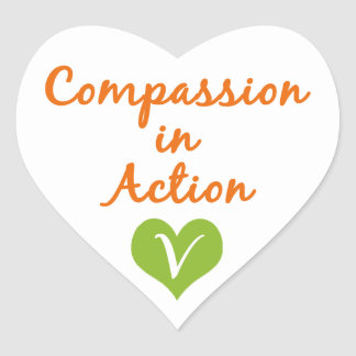 Compassion in Action Heart Sticker