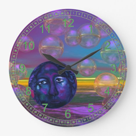 Compassion – Violet and Gold Awareness Abstract Large Clock