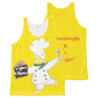 """Compassionate Duck Says """"Go Vegan"""" All-Over-Print Tank Top"""