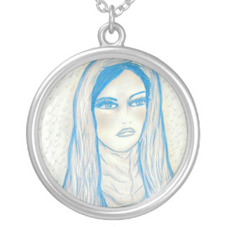 Compassionate Mary - Blue Tones Round Pendant Necklace