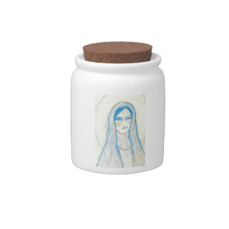 Compassionate Mary In Blues Candy Jars