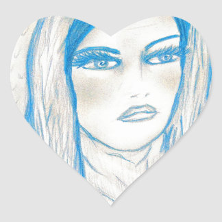 Compassionate Mary in Blues Heart Sticker
